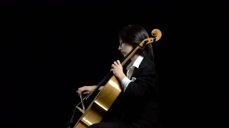 opus : Female hand plays with a bow on a cello in dark studio . Black background. Side view