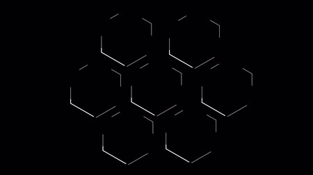 forma : Shape of the honeycomb moves the white line and at the end of the dotted line. Black background