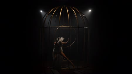 měsíců : Graceful girl in bird costume riding a hoop in a cage on the stage. Black smoke background