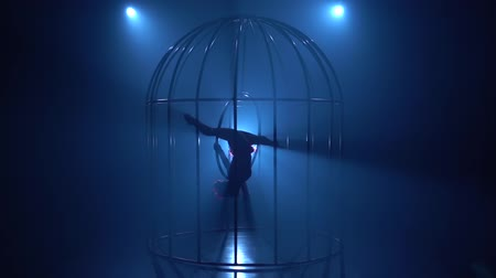 ритмичный : Acrobatic in a cage performs gymnastic stunts on a hoop . Blue smoke background. Silhouette. Slow motion Стоковые видеозаписи