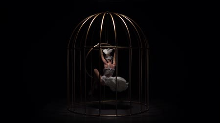 show room : Girl spinning on a hoop in a gold cage. Black background. Slow motion Filmati Stock