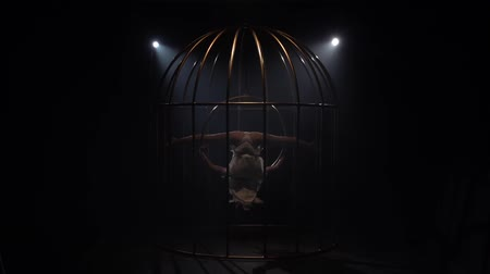spotlights : Girl spinning on a hoop in a gold cage. Black smoke background. Slow motion