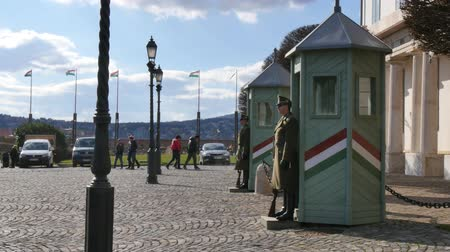 milestone : Tourists walk in front of Guards in the Sandor Palace, Budapest Stock Footage