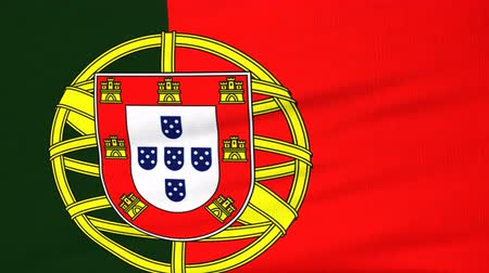 portugalsko : National flag of Portugal flying and waving on the wind. State symbol of Portuguese nation and government. Computer generated animation.