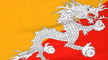 bhutan : National flag of Bhutan flying and waving on the wind. State symbol of Bhutanese nation and government. Computer generated animation.
