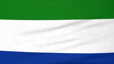 sierra leone flag : National flag of Sierra Leone flying and waving on the wind. State symbol of Sierra Leonean nation and government. Computer generated animation.