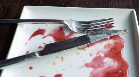 оставаться : Close-up of empty white plate smeared with pink fruit syrup and crumbs, knife and fork placed on it. Remains of dessert. Detailed shot. Стоковые видеозаписи