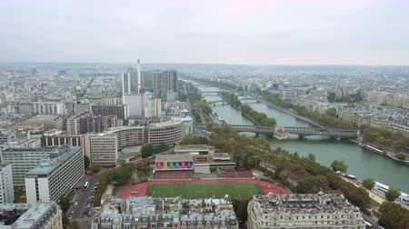 bir hakeim : Paris aerial view of Seine river and bridge in Paris France Stock Footage