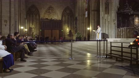 catholic cathedral : Paris, France - October, 14, 2016: Notre Dame de Paris cathedral interior with prayers listening a sermon from a French cardinal Andre Vingt-Trois. Stock Footage