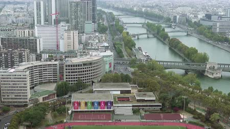 bir hakeim bridge : Paris aerial view of Seine river and bridge tilt shot. Paris, France