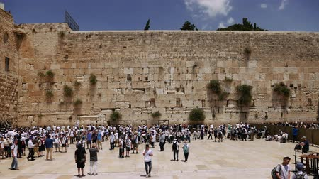 wailing wall : Western Wall or Wailing Wall or Kotel in Jerusalem timelapse. Plenty of people come to pray to the Jerusalem western wall. The Wall is the most sacred place for all jews on the planet.