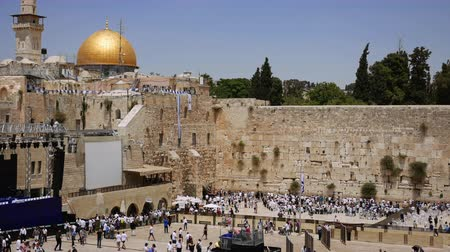 israelite : Western Wall or Wailing Wall or Kotel in Jerusalem timelapse. Plenty of people come to pray to the Jerusalem western wall. The Wall is the most sacred place for all jews on the planet.