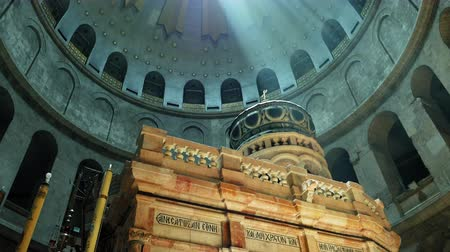 dolorosa : Jesus Christ Empty tomb and Dome rotunda over it in Jerusalem in the Holy Sepulcher Church. The Sepulchre Church and Empty Tomb are the most sacred places for all Christians on the planet.