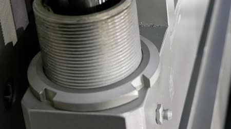 squeezer : Crank drive gear of industrial factory machine. Automated robotic production machinery. Suitable for vertical format video. Stock Footage