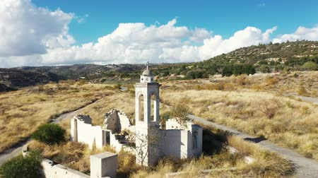 bell tower : Flying over St Nicholas Abandoned Church at Kouris dam. Limnassol District, Cyprus