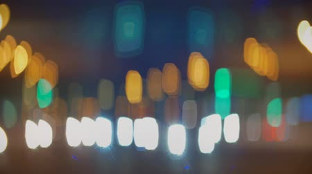 beautifully : beautiful oval bokeh street lights passing cars Stock Footage