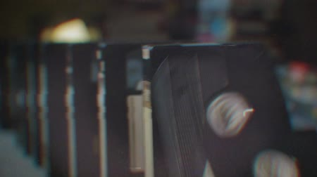 vcr : Domino effect. Old videotapes with shallow depth of field Stock Footage