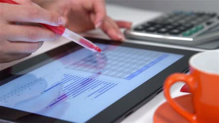 planları : Accountant Businesswoman Working With Calculator And Financial Documents On Tablet Screen