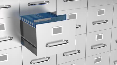 arquivos : a 3d filing drawer opens up to get access to the selected file and then closes again.