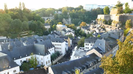 superb : 4K video of the historical beautiful and superb view of the Grund, Luxembourg during sun rise time