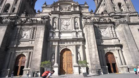 cdmx : Mexico City, FEB 18: Pan movment of the exterior of Catedral Metropolitana de la Ciudad de Mexico on FEB 18, 2017 at Mexico City, Mexico
