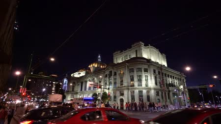 cdmx : Mexico City, FEB 18: Night, traffic near Palace of Fine Arts (Palacio de Bellas Artes) on FEB 18, 2017 at Mexico City, Mexico