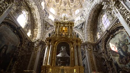 cdmx : Puebla, FEB 19: Interior pan view of The historical church - Rosary Chapel of Iglesia de Santo Domingo on FEB 19, 2017 at Cholua, Puebla, Mexico