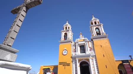 cdmx : Cholua, FEB 19: The historical our Lady of Remedies Church (Iglesia de Nuestra Senora de los Remedios) on FEB 19, 2017 at Cholua, Puebla, Mexico