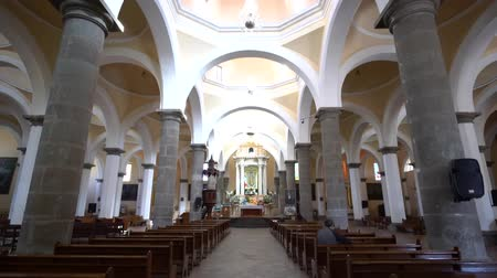 cdmx : Puebla, FEB 19: Interior pan view of the speical 49 domes church - Capilla Real o de Naturales on FEB 19, 2017 at Cholua, Puebla, Mexico Stock Footage