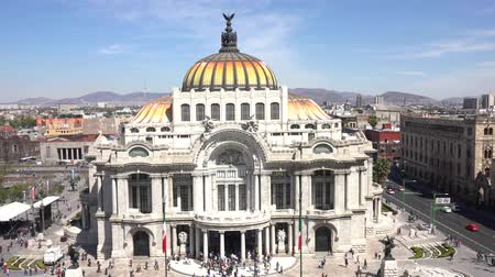 palacio real : Aerial view with pan movement of the beautiful Fine Arts Palace (Palacio de Bellas Artes) of Mexico City, Mexico