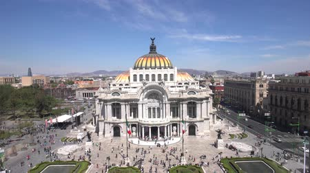 cdmx : Aerial view, timelapse of the beautiful Fine Arts Palace (Palacio de Bellas Artes) of Mexico City, Mexico
