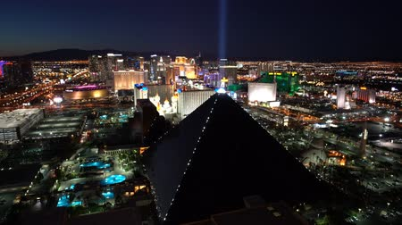 mandalay bay : Las Vegas, APR 30: 4K Video of superb night aerial view of Strip, Las Vegas and Casinos on APR 30, 2017 at Skyfall Loung, Mandaly Bay, Nevada
