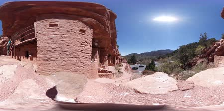 valóság : 360 VR of the Manitou Cliff Dwellings at Denver, Colorado, United States Stock mozgókép