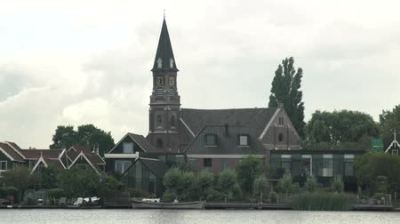 ck : The beautiful and historical CK Verlaten Kerk church at Zaanse Schans, Netherlands Stock Footage