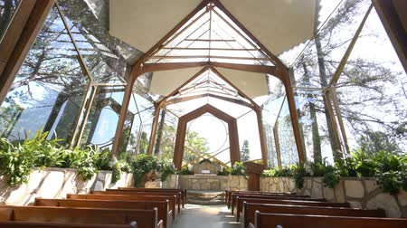 aanbidding : Los Angeles, APR 21: The beautiful Glass Church - Wayfarers Chapel op 21 april 2017 in Rancho Palos Verdes, Los Angeles, Californië