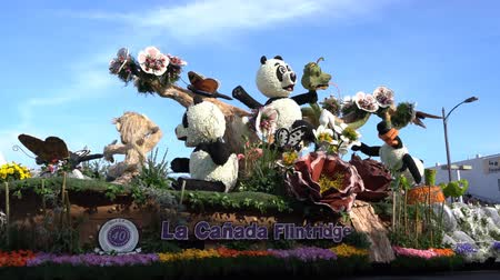 cobra : Pasadena,  JAN 1: Animal style with Panda, snake, Bob Hope Humor Awrad float in the famous Rose Parade - Americas New Year Celebration on JAN 1, 2017 at Pasadena, California, United States