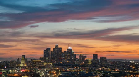 los angeles skyline : Sunset to night timelapse of the Los Angeles skyline, California
