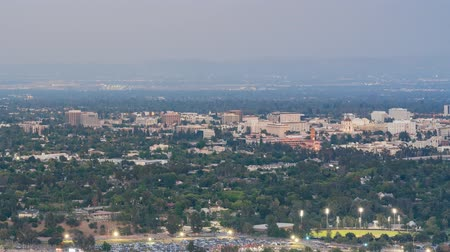 tigela : Sunset to night timelapse of the  Rose Bowl and Pasadena downtown view around twilight time