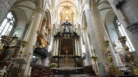 chapel : Ghent, APR 28: Interior view of the historical Saint Nicholas Church on APR 28, 2018 at Ghent, Belgium Stock Footage