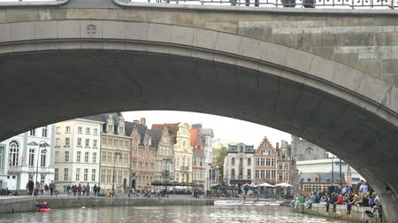 Бельгия : Beautiful cityscape and Leie river at Ghent, Belgium Стоковые видеозаписи