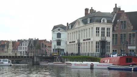 bruxelas : Ghent, APR 28: Beautiful cityscape and Leie river on APR 28, 2018 at Ghent, Belgium