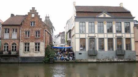 brüksel : Ghent, APR 28: Beautiful cityscape and Leie river on APR 28, 2018 at Ghent, Belgium