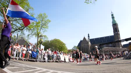 ams : Netherlands, APR 21: The beautiful and colorful flower parade on APR 21, 2018 at Netherlands