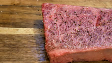wagyu : Raw Wagyu beef sit on a board