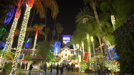 travel footage : River Side, DEC 9: The famous light up event of Mission Inn on DEC 9, 2018 at River Side, Los Angeles County, California Stock Footage