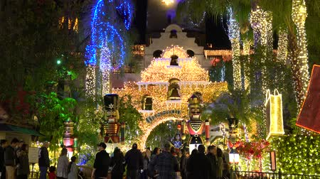 lights up : River Side, DEC 9: The famous light up event of Mission Inn on DEC 9, 2018 at River Side, Los Angeles County, California Stock Footage