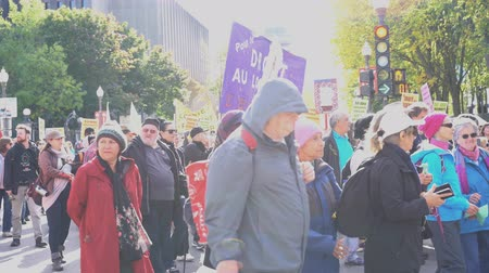 jornalismo : Quebec, OCT 2: Many people marching in old Quebec on OCT 2, 2018 at Quebec, Canada Stock Footage