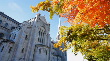 canadense : Exterior morning view of the Basilica of Sainte-Anne-de-Beaupre church with red maple tree at Quebec, Canada Vídeos