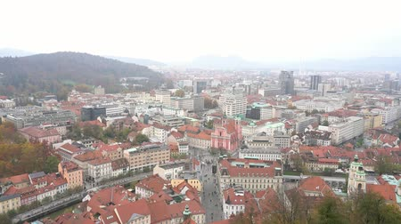 ljubljana : Aerial view of the Ljubliana cityscape at Slovenia