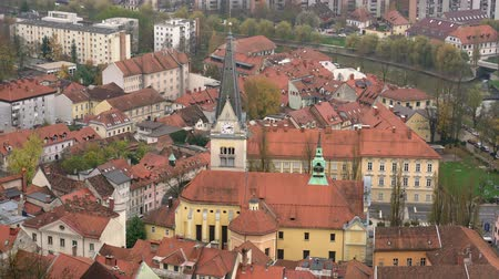 ljubljana : Aerial view of the Church of St. James and Ljubliana cityscape at Slovenia